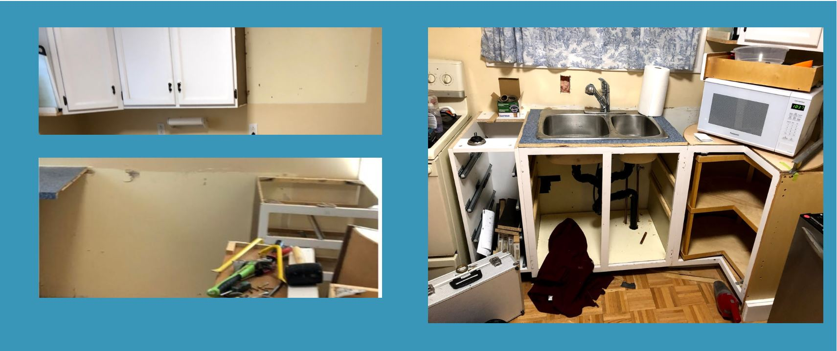 Three pictures on a blue background taken in Cambridge, Ontario, the top and bottom left show an expanse of wall where kitchen cabinets have been removed and the wall is differently coloured, the one on the right shows a kitchen sink with cabinets and drawers without doors and tools on the floor