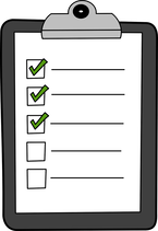 Picture of a cartoon clipboard with a paper that has five lines each beside a box and the top three boxes have been checked off