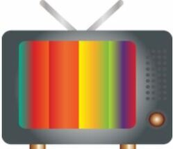Picture of an older box style TV with two antennae and a dial knob, the screen shows a rainbow technicolour