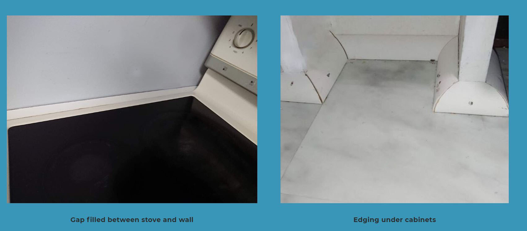 Two pictures on a blue background taken in Cambridge, Ontario, the one on the left shows a stove top beside a wall where a white strip of wood has been secured between the two to cover a gap, the one on the right shows the legs and wooden panel of the bottom of a cabinet where white quarter round has been nailed in place to frame it