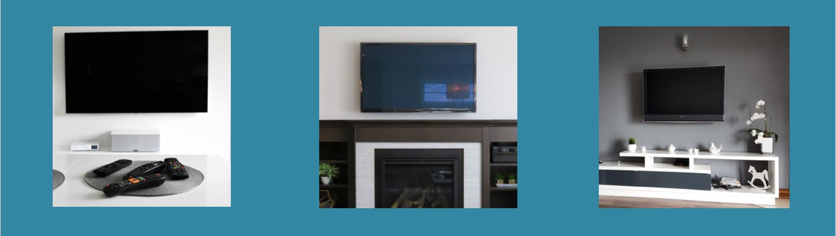 Three pictures side by side on a blue background, the first shows a TV mounted on a white wall, the next is a TV mounted on a wall above a fireplace, the third is a TV mounted on a wall above a small shelving unit